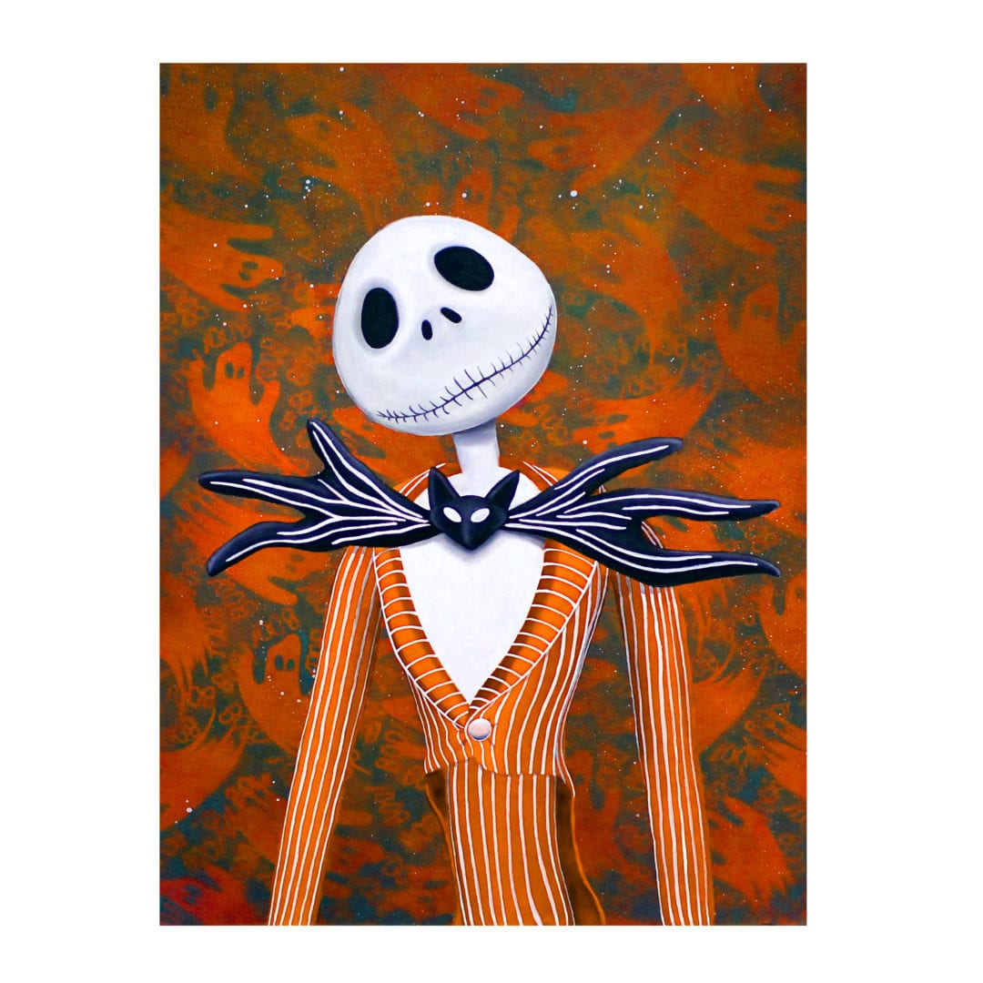 Jack Skellington, a nightmare before christmas, holiday jack, lowbrow art, skull art, tim burton, disney art, christmas painting, halloween art