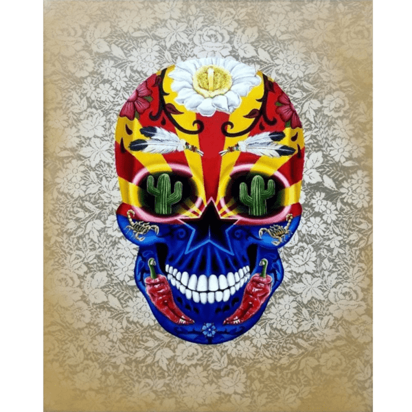 arizona day of the dead skull giclee nws