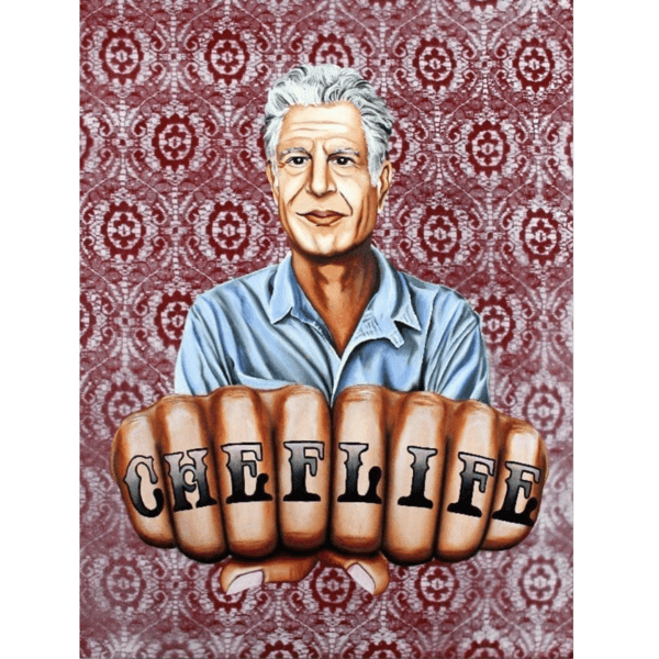 jared aubel art anthony bourdain knuckles giclee